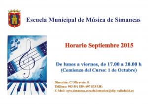Horario Escuela Municipal de Música Septiembre 2015