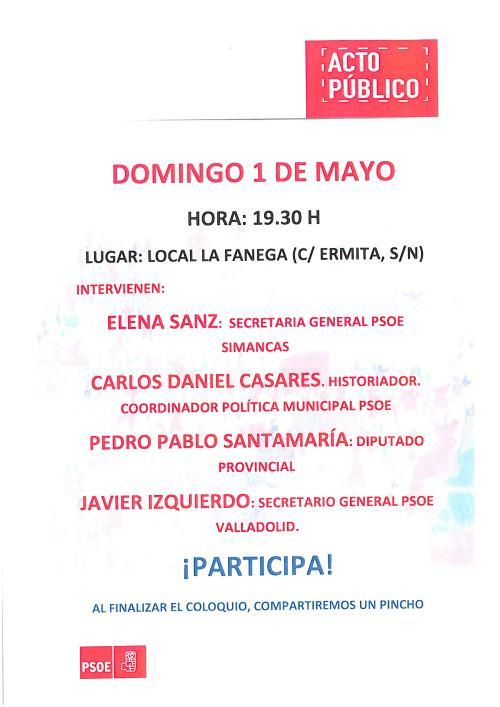 Cartel PSOE 1 de mayo