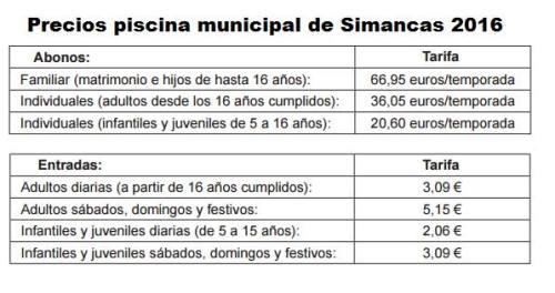 Precios Piscina Simancas 2016